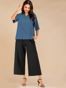 Solid Notched Top & Wide Leg Pants Set