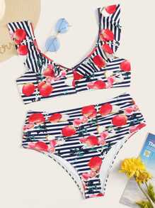 Plus Fruit & Striped Print Ruffle Trim Bikini Set