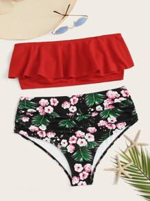 Plus Flounce Bandeau With Tropical Bikini Set