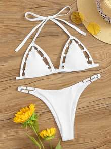 Cut Out Triangle Halter Top With Cheeky Bikini Set