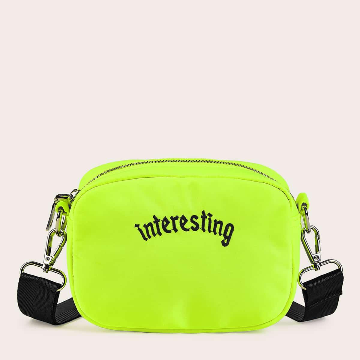 Неоновая сумка через плечо с вышивкой и текстовым принтом