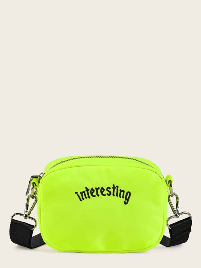 Letter Embroidery Neon Lime Crossbody Bag