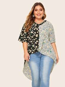 Plus Cut And Sew Floral & Polka Dot Print High Low Blouse