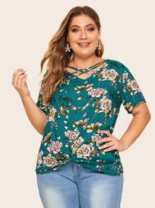 Plus Floral Print Criss Cross Twist Hem Blouse