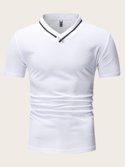 Men Contrast Tape Stand Collar Polo Shirt
