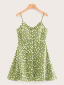 Ditsy Floral Print Button Through Cami Dress