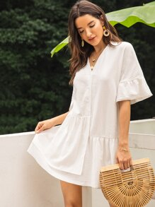 Solid Flounce Sleeve Ruffle Hem Dress