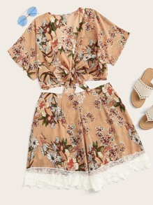 Plus Floral Print Tie Front Top & Shorts