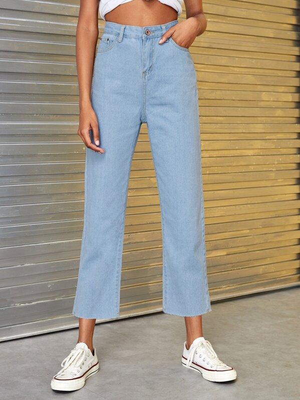 28bf5faef1 Button Waist Straight Leg Solid Jeans