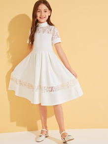 Girls Mock-Neck Lace Yoke Boxy Pleated Detail Dress