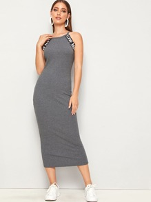 Letter Tape Rib-knit Split Back Halter Pencil Dress