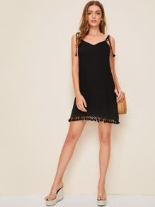 Self Tie Shoulder Tassel Hem Slip Dress