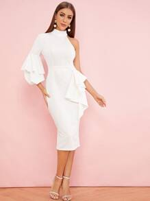 One Shoulder Flounce Trim Lantern Sleeve Dress