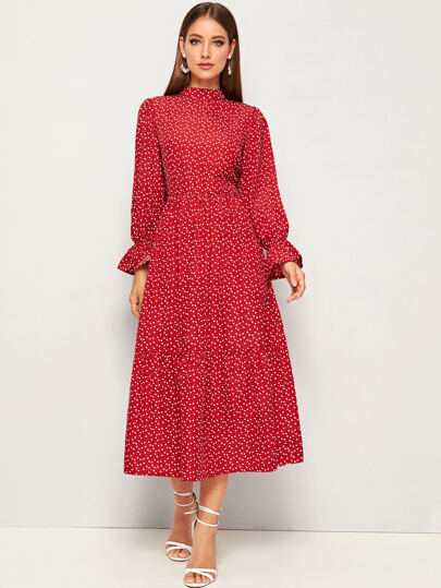 Confetti Heart Print Mock-neck Flounce Sleeve Dress