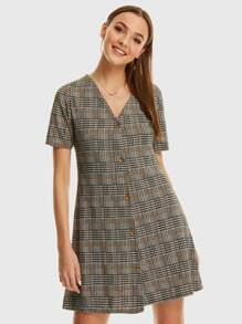 V-neck Button Front Plaid Dress
