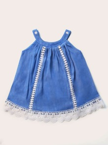 Baby Girl Contrast Guipure Lace Scallop Hem Dress