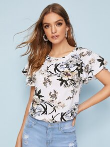 Floral Print High Low Curved Hem Blouse