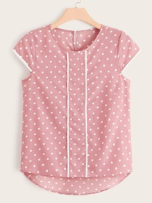 Plus Polka Dot Print High Low Hem Keyhole Back Blouse