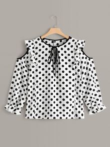 Plus Cold Shoulder Polka Dot Print Frill Tie Neck Blouse