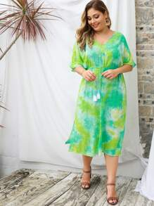 Plus Tie Dye Drawstring Waist Split High Dress