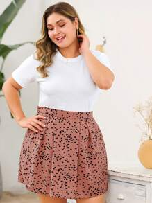 Plus Confetti Heart Print Skirt