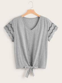 Plus Scallop Cut Out Sleeve Knot Hem Tee