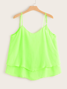 Plus Neon Tiered Layer Cami Top