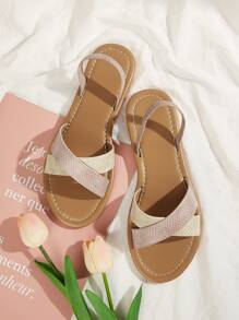 Two Tone Cross Strap Slingback Sandals