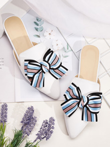 Striped Bow Decor Flat Mules