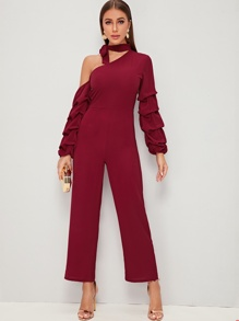Choker Neck One Shoulder Tiered Sleeve Jumpsuit