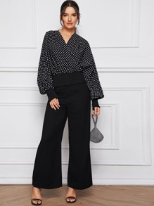 Surplice Dot Print Blouse & Wide Leg Pants