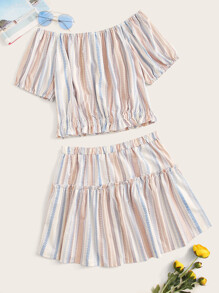 Plus Tribal Striped Print Frill Top With Shorts