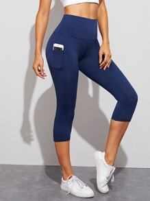 Pocket Detail Capris Leggings