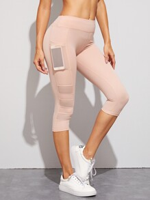 Contrast Stitch Mesh Pocket Capris Leggings