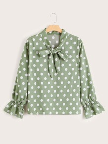 Plus Polka Dot Tie Neck Blouse