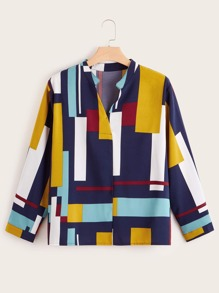 Plus Block Striped Blouse