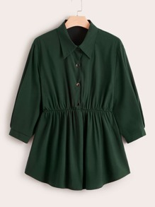 Plus Button Front Smock Blouse