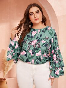 Plus Floral Print Layered Sleeve Blouse