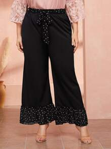 Plus Polka Dot Ruffle Hem Belted Pants