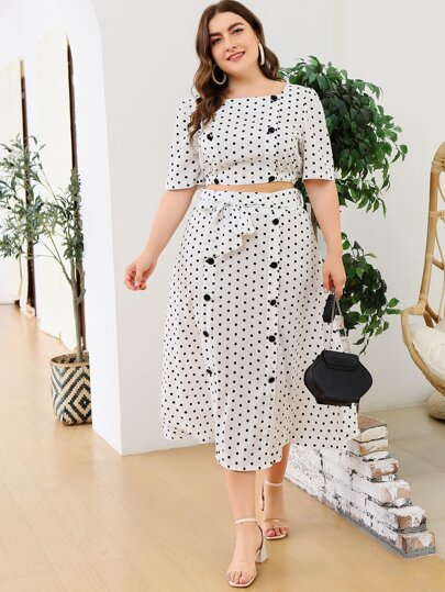 Plus Polka Dot Button Front Crop Top & Skirt Set