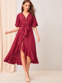 Asymmetrical Ruffle Hem Button Front Belted Dress