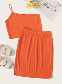 Neon Orange One Shoulder Rib-knit Crop Top & Skirt Set