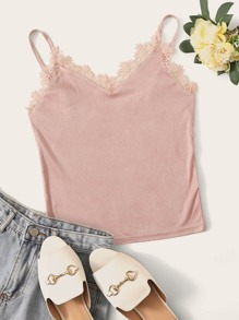 Solid Lace Insert Suede Cami Top