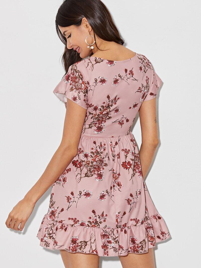 50af7ee51 Vestido bajo fruncido con estampado floral de margarita