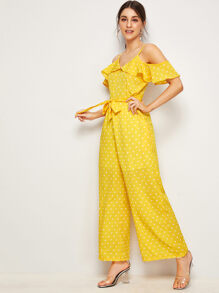 Open-shoulder Tie Waist Ruffle Wide Leg Jumpsuit