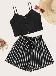 Button Through Cami Top With Striped Belted Wide Leg Shorts