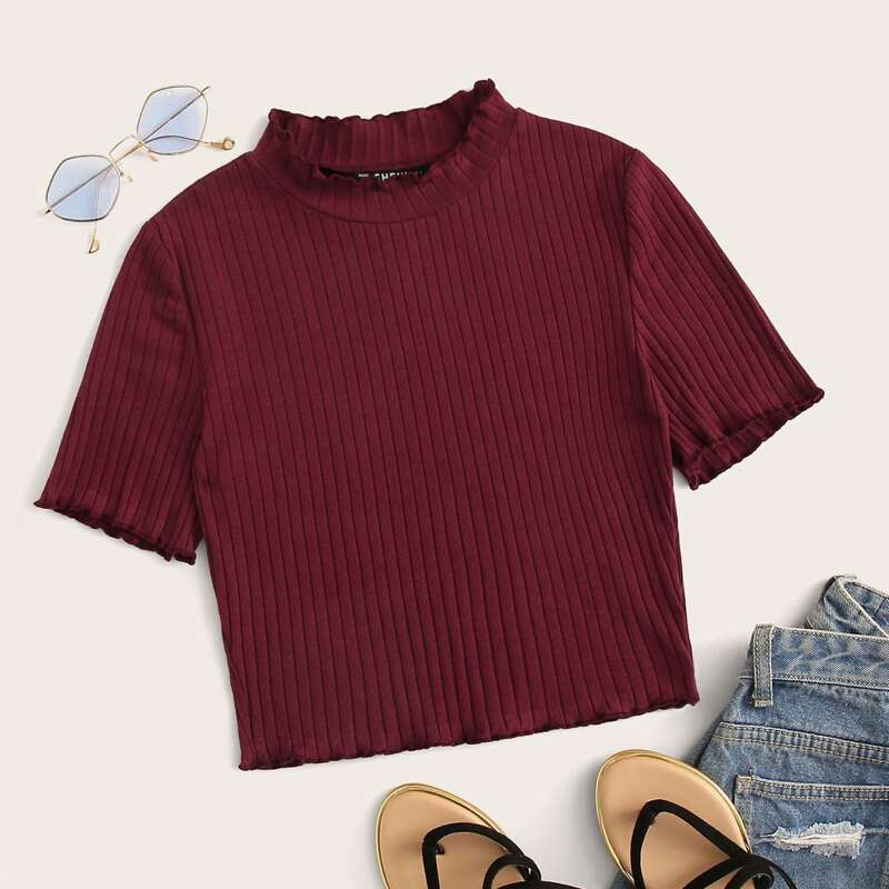 Lettuce Trim Rib-knit From Fitting Tee, Burgundy