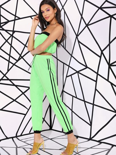 Neon Green Drawstring Hem Bandeau Top and Wind Pants Set