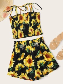 Sunflower Print Shirred Cami Top With Paperbag Shorts