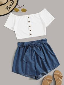 Ribbed Button Front Off Shoulder Top With Belted Shorts